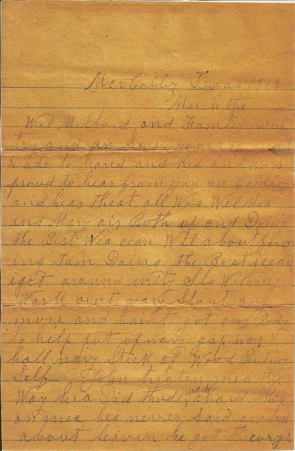 Hoyt Davis saved this letter that his Father Reason Milford Davis Jr ...